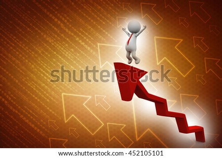 3d rendering businessman is walking to the top of a growing graph - stock photo