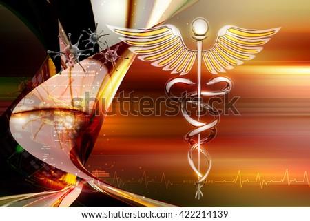 3d rendering caduceus medical symbol - stock photo