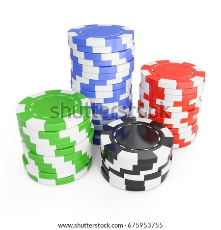 3D Rendering casino chips on a white background