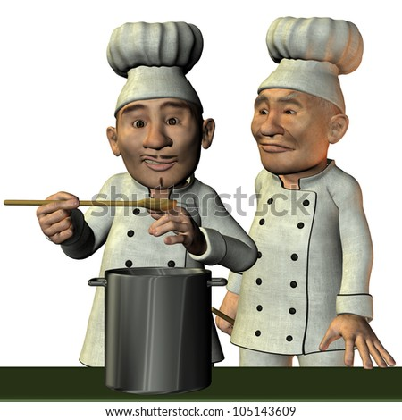 3D Rendering Chef and kitchen boy - stock photo