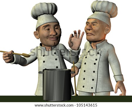 3D Rendering Chef assessed the food - stock photo