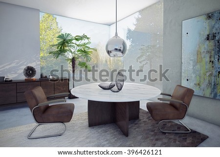 3D rendering Chill-out Space, Office with Backyard View - stock photo