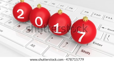 3d rendering christmas balls on a white keyboard