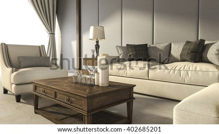 3d rendering classic comfortable armchair with wood table - stock photo