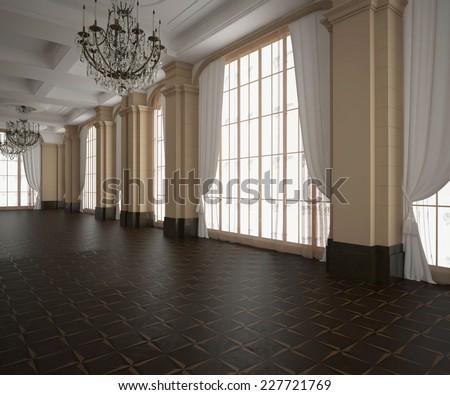 3d rendering.Classic hall, blank interior. Wooden dark parquet floor. Light Cream walls - stock photo