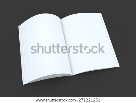 3D Rendering Clean White Opened Mock up catalog or magazine In Dark Background with Work Paths, Clipping Paths Included.  - stock photo