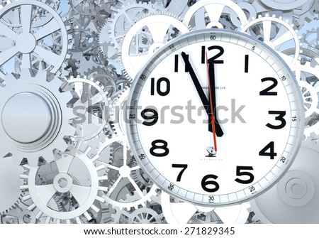 3D rendering Clockwork Background. Close-up Of Clock Watch Mechanism With Gears - stock photo