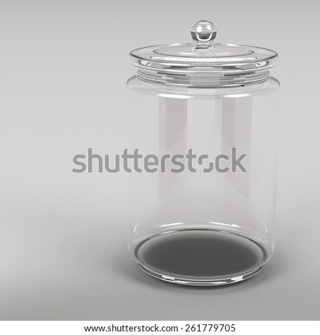 3d rendering close up of jar on grey background - stock photo