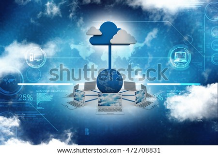 3d rendering Cloud computing devices