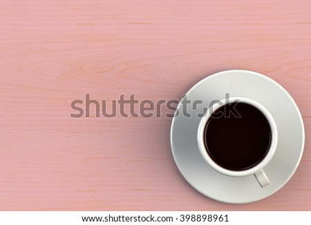 3D rendering coffee cup on pink wood table
