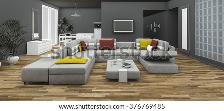3d rendering colorful sofa set with loft style room