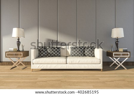 3d rendering comfortable white sofa in warm room - stock photo