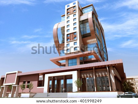 3d rendering - Commercial and administrative complex - entrance - stock photo