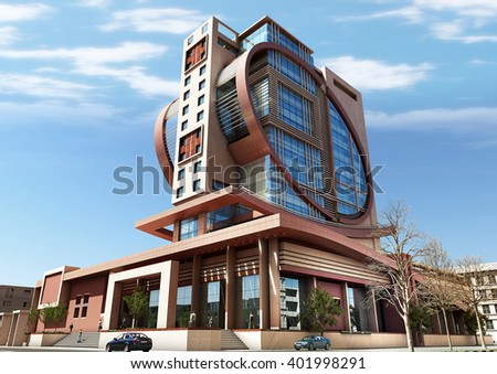 3d rendering - Commercial and administrative complex - main view - stock photo