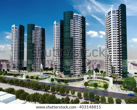 3d rendering - commercial and residential complex - roof garden - stock photo