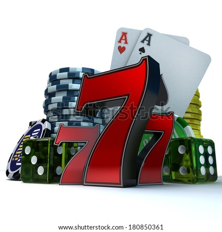 3D rendering  composition with different gambling elements - stock photo