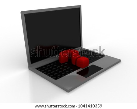 3d rendering Computer Online Help Information Concept. Red Question Mark over Laptop Keyboard.