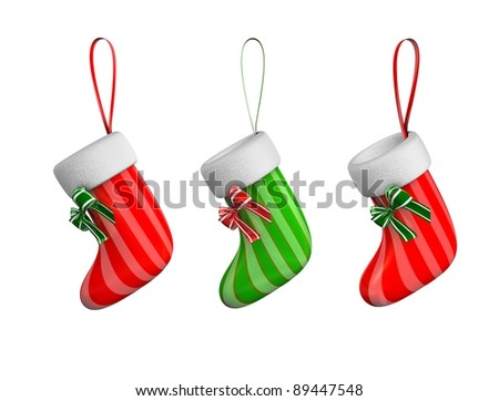3d rendering, concept illustration of hanging xmas sock, isolated on white. - stock photo