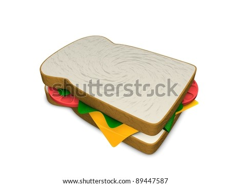 3d rendering, concept illustration of sandwich, isolated on white. - stock photo