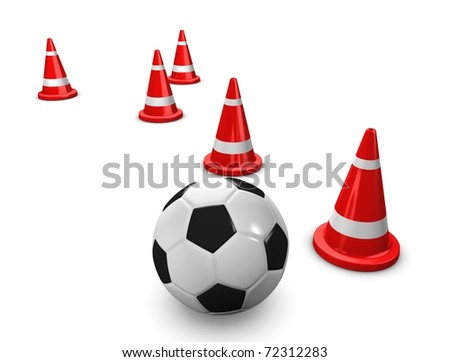 3d rendering, concept image Soccer training session with cones, on white. - stock photo