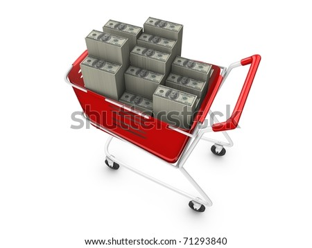 3d rendering, concept image, stacks of money in trolley. isolated on white. - stock photo