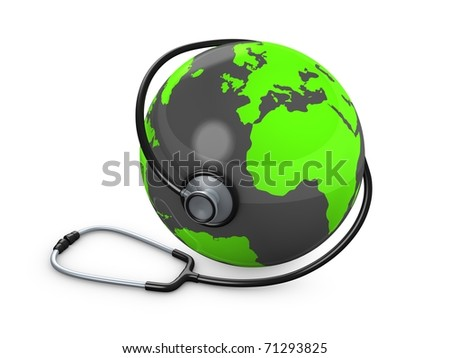 3d rendering, concept image, Stethoscope and globe. isolated on white. - stock photo