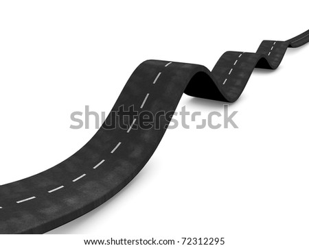3d rendering, concept image waving road, isolated on white background.
