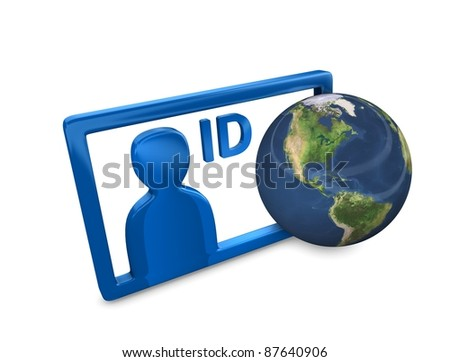 3d rendering, Conceptual illustration internet ID, isolated on white. - stock photo