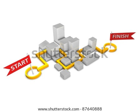 3d rendering, Conceptual illustration Marathon direction map, isolated on white. - stock photo