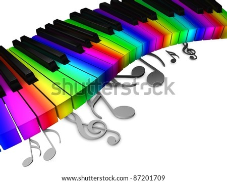 3d rendering, conceptual image, Colorful piano keyboard. - stock photo
