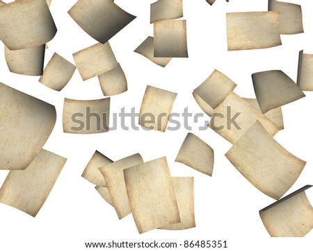 3d rendering, conceptual image, falling old paper. - stock photo