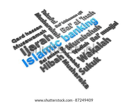 3d rendering, conceptual image, Islamic financial transaction terminology. - stock photo