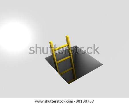 3d rendering, Conceptual image, metaphor: way out to solution, isolated on white background. - stock photo