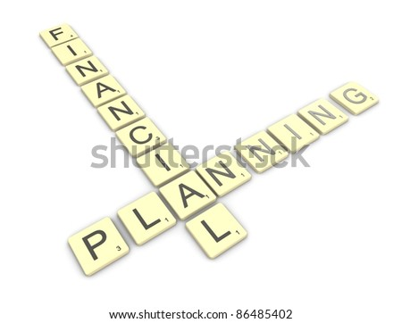 3d rendering, conceptual image, Scrabble game, financial planning. - stock photo