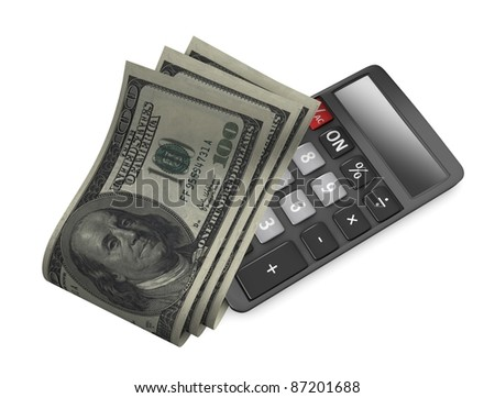 3d rendering, conceptual image, Tight budget, US dollar notes and calculator. - stock photo