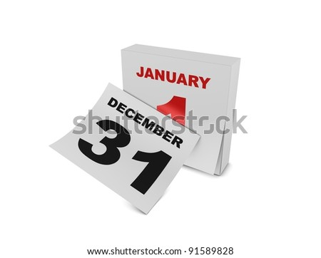 3d rendering, conceptual new year, isolated on white. - stock photo