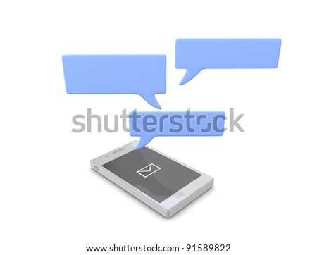 3d rendering, conceptual Smartphone chat, isolated on white. - stock photo