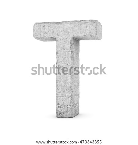 3D rendering concrete letter T isolated on white background. Signs and symbols. Alphabet. Cracked surface. Textured materials. Cement object.