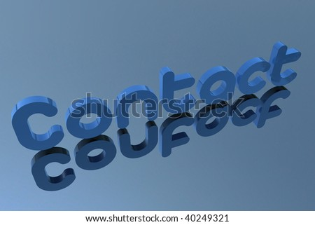 3D rendering contact letter in blue