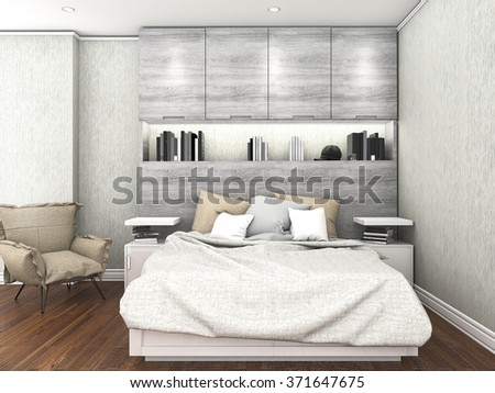 3d rendering contemporary wood floor with with daylight inside bedroom - stock photo