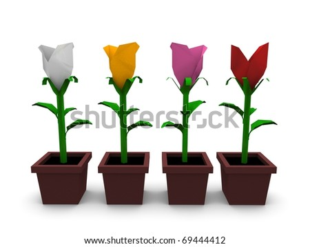 3d rendering, creative concept origami paper flower, isolated on white background. - stock photo