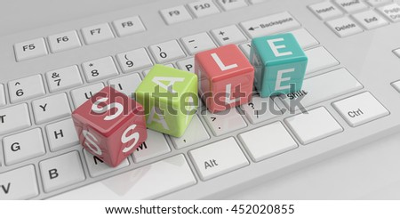3d rendering cubes, word sale on a black keyboard