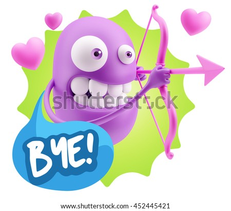 3d Rendering. Cupid Emoticon Face saying Bye with Colorful Speech Bubble.