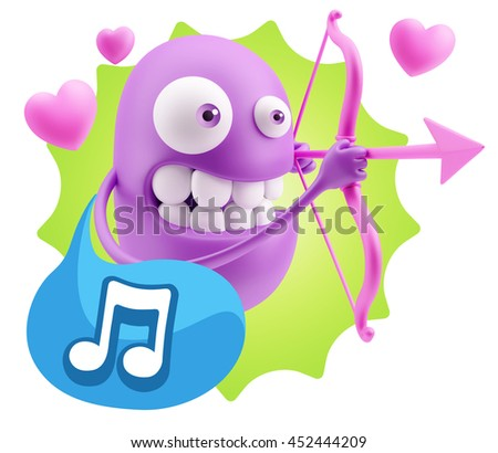 3d Rendering. Cupid Emoticon Face saying Music Symbol with Colorful Speech Bubble.