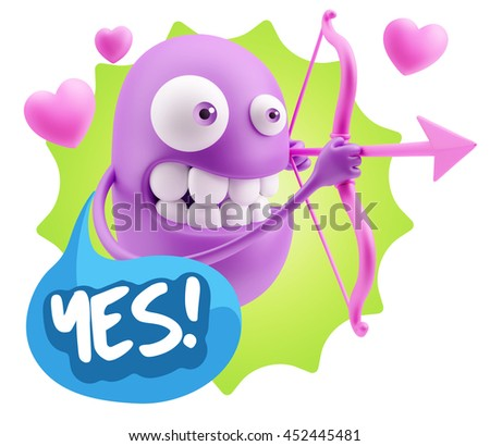3d Rendering. Cupid Emoticon Face saying Yes with Colorful Speech Bubble.