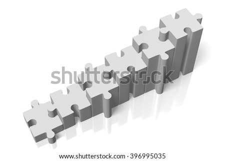 3D rendering/ 3D illustration - puzzle concept - growth chart.