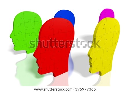 3D rendering/ 3D illustration - puzzle concept - human heads shapes. - stock photo