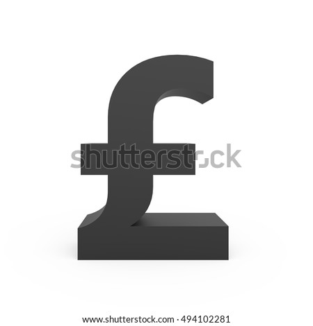 3D rendering dark grey pound sign isolated on white background