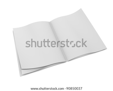 3d rendering, design element, blank book pages, isolated on white. - stock photo