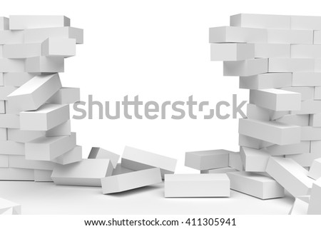 3D rendering Destruction of a white brick wall on white background - stock photo